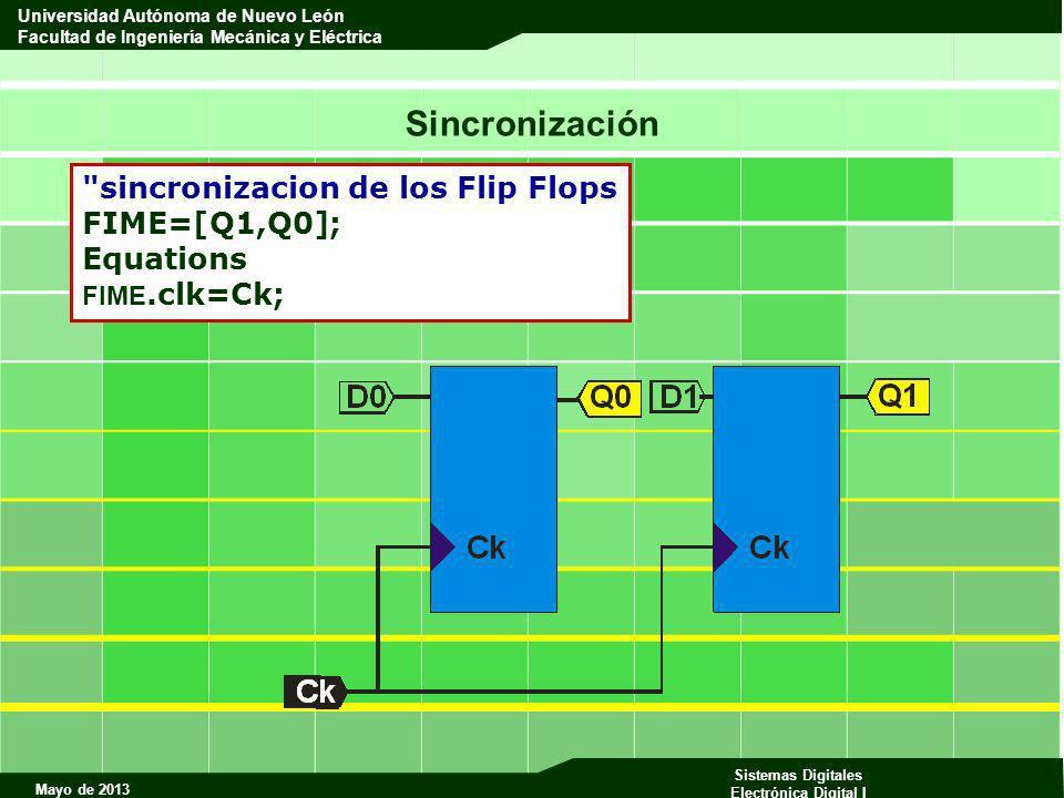 Sincronización sincronizacion de los Flip Flops FIME=[Q1,Q0];